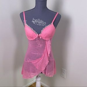 Expressions pink sparkly lingerie babydoll top 34b